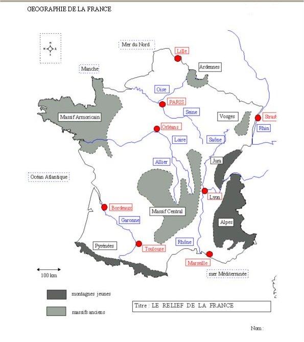 Carte De France Avec Fleuves Et Principales Villes